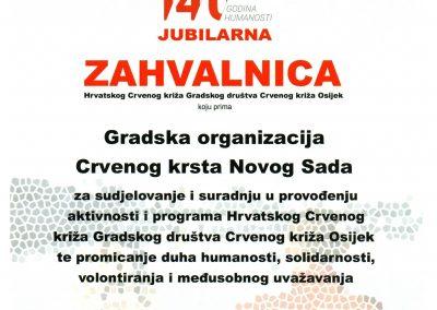 Zahvalnica CK Osijek 2018